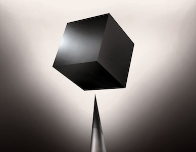 A sinister black box hovering over a spike